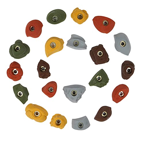 Atomik Climbing Holds 21 Classic Pack Bolt Ons   Perfect for Home or Gym Rock Climbing Walls   Assorted Earth Tones