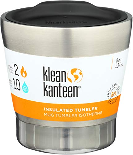 Klean Kanteen 8oz Stainless Steel Tumbler Cup, Double Wall Vacuum Insulated with Lid - Brushed Stainless