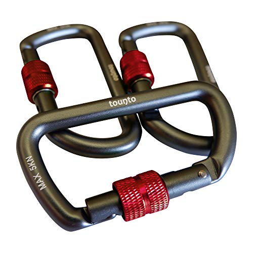 TOUNTO 3 Pack Heavy Duty Locking Carabiners, 3.22' D-Shaped Carabiner Aircraft Aluminium Material Carabiner Clips, Lightweight (Black/red)