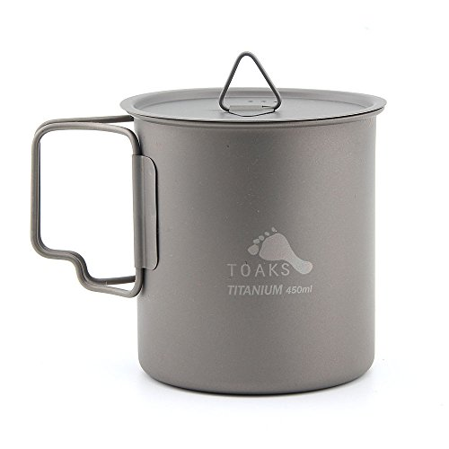 TOAKS Titanium Camping Cup 450ml (CUP-450 with Lid)