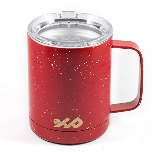 Highland Peak Insulated 12oz Camping Mug with Handle - Travel Cup Tumbler with Lid - Ideal for Backpacking, Outdoors, Hiking - Lightweight Double-Walled Vacuum Mug for Hot & Cold Beverages (Red)