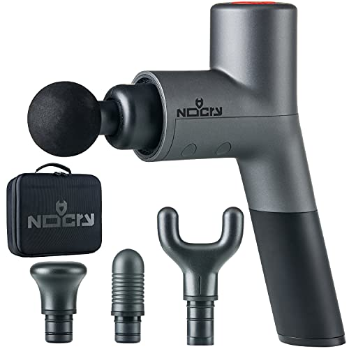 NoCry Professional Deep Tissue and Muscle Massage Gun; Cordless and Handheld with 5 Speeds (max 3200 BPM) and 4 Attachment Heads; Relief for Athletes, Office Workers