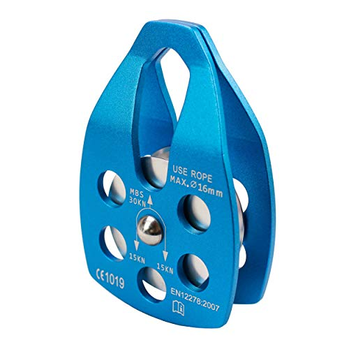 Geelife 20KN Micro Climbing Pulley General Purpose Small Aluminum Rope Pulleys for Rescue/Aloft Work/Rappelling Etc. (Blue, Single Pulley 3)
