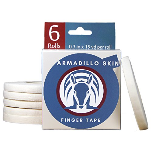 Armadillo Skin Finger Tape, Strong Cotton Athletic Tape for Grappling, Brazilian Jiu Jitsu (BJJ), Judo, Rock Climbing and MMA 0.3 in x 45 feet, 6 or 8 Rolls per Pack … (Pack of 6)